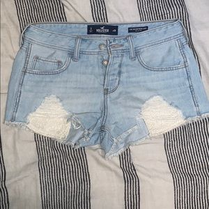 light washed low-rise boyfriend shorts